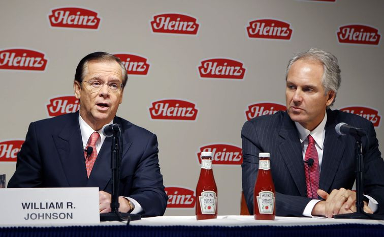 H.J. Heinz Co. CEO William Johnson, left, and 3G Capital Managing Partner Alex Behring speak at a news conference at the world headquarters of the H.J. Heinz Co. on Thursday, Feb. 14, 2013, in Pittsburgh. (AP Photo/Keith Srakocic) ** FILE **