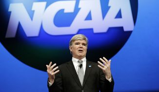 **FILE** In a Jan. 17, 2013 file photo NCAA President Mark Emmert speaks at the organization's annual convention in Grapevine, Texas. The University of Miami is critical of the NCAA's investigation into the University. (AP Photo/LM Otero, file)