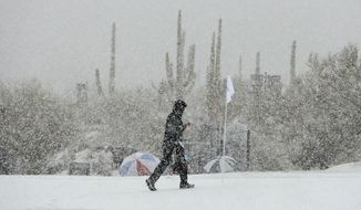 A volunteer walks along the practice green as snow falls during the Match Play Championship golf tournament, Wednesday, Feb. 20, 2013, in Marana, Ariz. Play was suspended. (AP Photo/Ross Franklin)