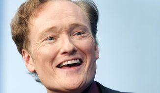 **FILE** Comedian Conan O'Brien speaks May 24, 2012, at the John F. Kennedy Presidential Library in Boston. (Associated Press)