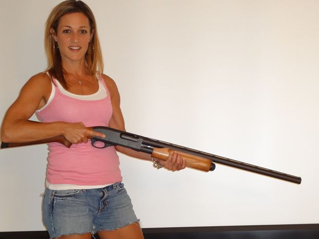 The Washington Times' Emily Miller with a shotgun