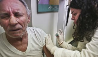 Carlos Maisonet, 73, receives a flu shot from Dr. Eva Berrios-Colon, a professor at Touro College of Pharmacy, during a visit to the faculty practice center at Brooklyn Hospital in New York on Tuesday, Jan. 15, 2013. (AP Photo/Bebeto Matthews)