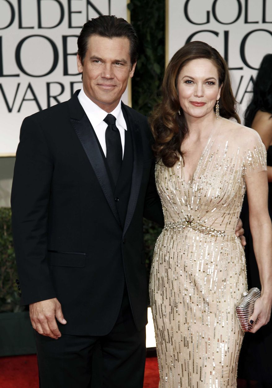 ** FILE ** Josh Brolin and Diane Lane attend the 69th annual Golden Globe Awards in Los Angeles on Sunday, Jan. 15, 2012. (AP Photo/Matt Sayles)