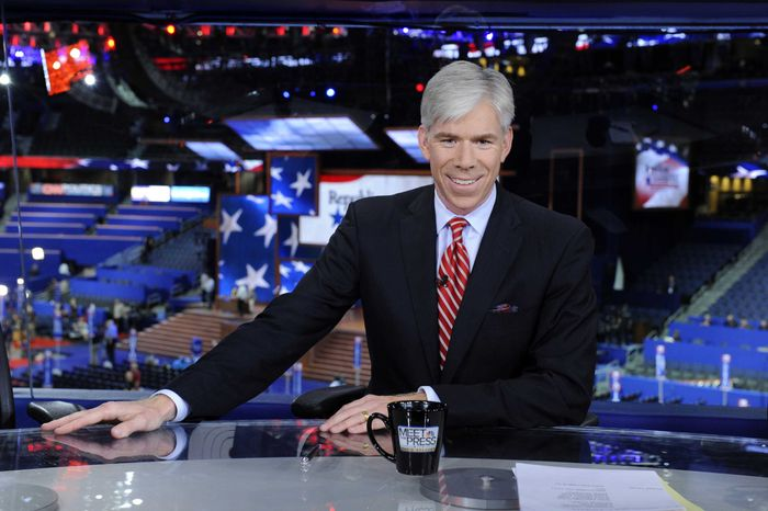 """David Gregory hosts NBC's """"Meet the Press"""" from the site of the Republican National Convention in Tampa, Fla., on Sunday, Aug. 26, 2012. (AP Photo/NBC, Virginia Sherwood)"""