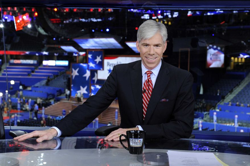 "David Gregory hosts NBC's ""Meet the Press"" from the site of the Republican National Convention in Tampa, Fla., on Sunday, Aug. 26, 2012. (AP Photo/NBC, Virginia Sherwood)"