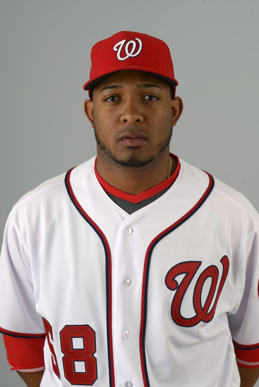 This is a 2013 photo of Fernando Abad of the Washington Nationals baseball team. This image reflects the Nationals active roster as of Feb. 20, 2013 when this image was taken.(AP Photo/Phelan M. Ebenhack)