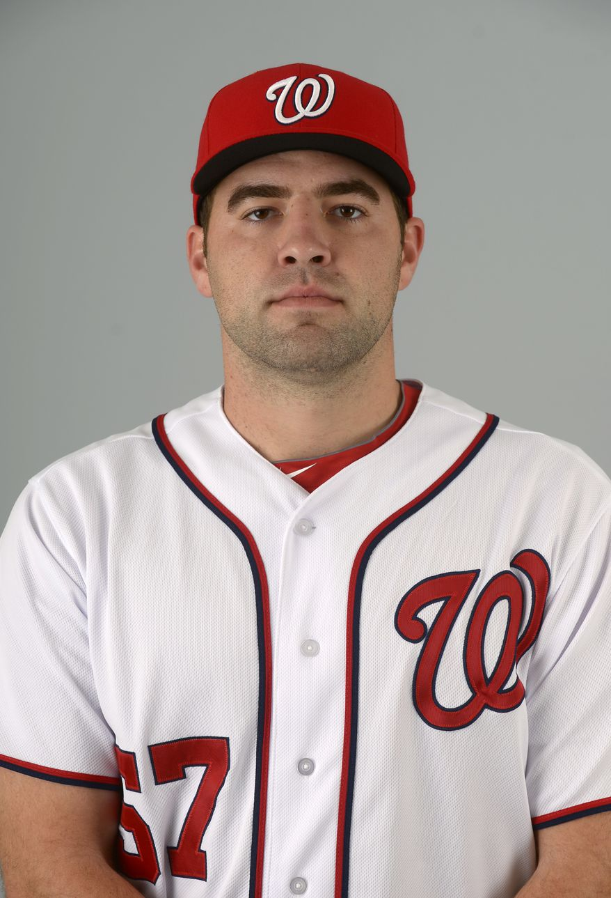 This is a 2013 photo of Nathan Karns of the Washington Nationals baseball team. This image reflects the Nationals active roster as of Feb. 20, 2013 when this image was taken.(AP Photo/Phelan M. Ebenhack)