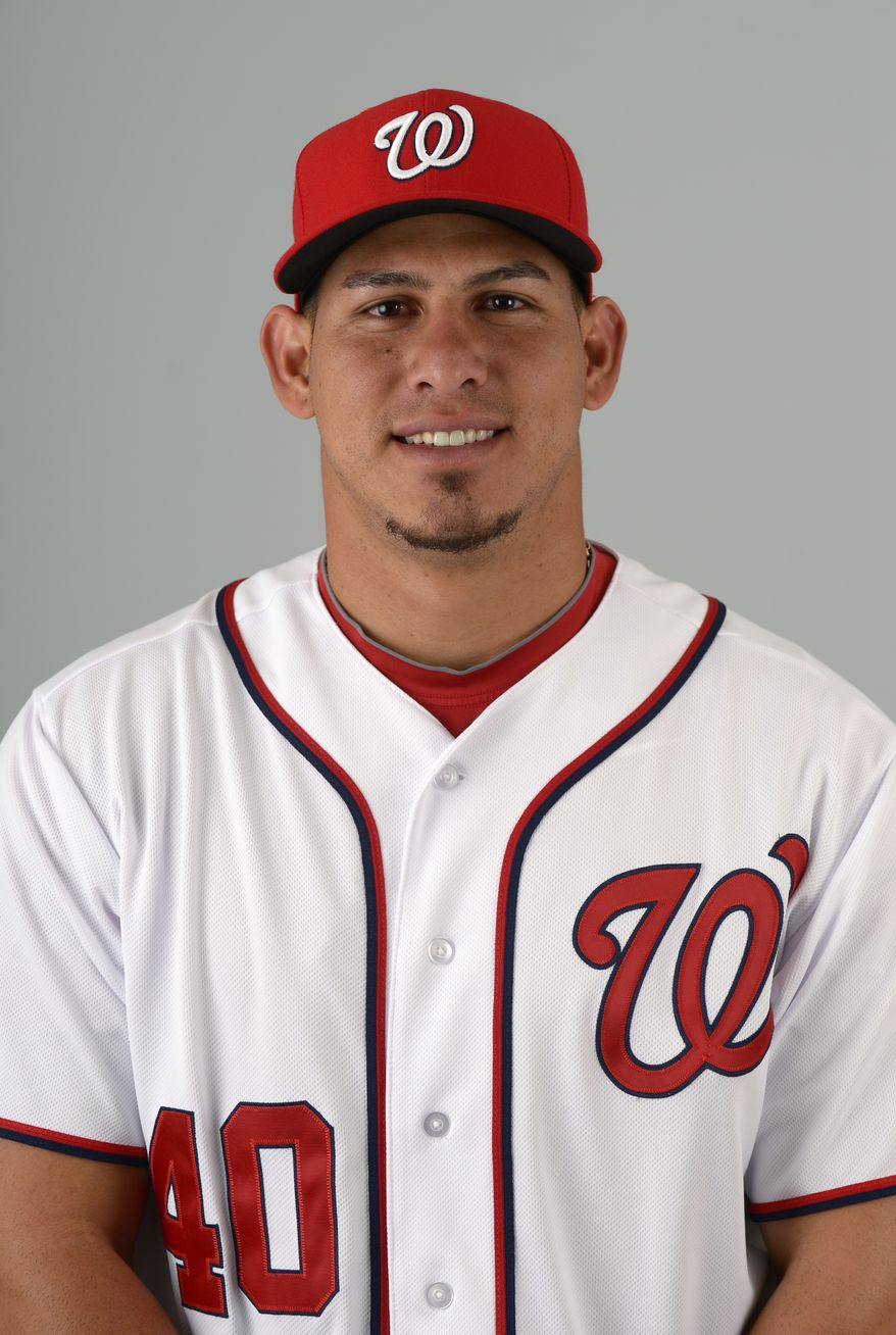 This is a 2013 photo of Wilson Ramos of the Washington Nationals baseball team. This image reflects the Nationals active roster as of Feb. 20, 2013 when this image was taken.(AP Photo/Phelan M. Ebenhack)