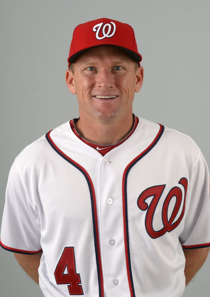 This is a 2013 photo of Rick Eckstein of the Washington Nationals baseball team. This image reflects the Nationals active roster as of Feb. 20, 2013 when this image was taken.(AP Photo/Phelan M. Ebenhack)