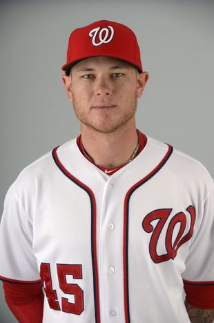 This is a 2013 photo of Ryan Perry of the Washington Nationals baseball team. This image reflects the Nationals active roster as of Feb. 20, 2013 when this image was taken.(AP Photo/Phelan M. Ebenhack)