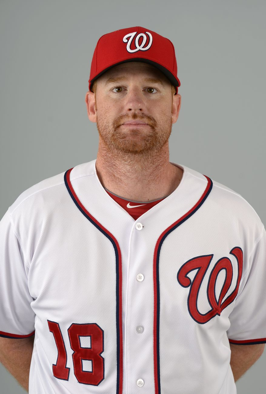 This is a 2013 photo of Chad Tracy of the Washington Nationals baseball team. This image reflects the Nationals active roster as of Feb. 20, 2013 when this image was taken.(AP Photo/Phelan M. Ebenhack)