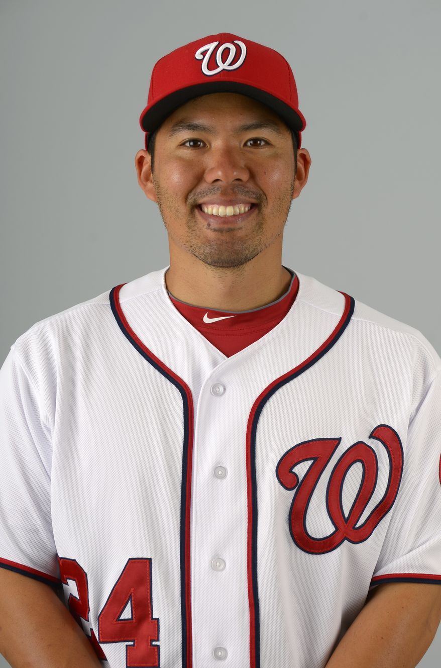 This is a 2013 photo of Kurt Suzuki of the Washington Nationals baseball team. This image reflects the Nationals active roster as of Feb. 20, 2013 when this image was taken.(AP Photo/Phelan M. Ebenhack)