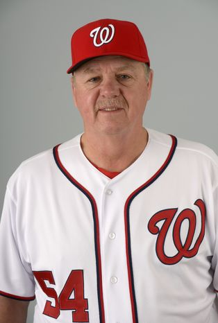 This is a 2013 photo of Steve McCatty of the Washington Nationals baseball team. This image reflects the Nationals active roster as of Feb. 20, 2013 when this image was taken.(AP Photo/Phelan M. Ebenhack)