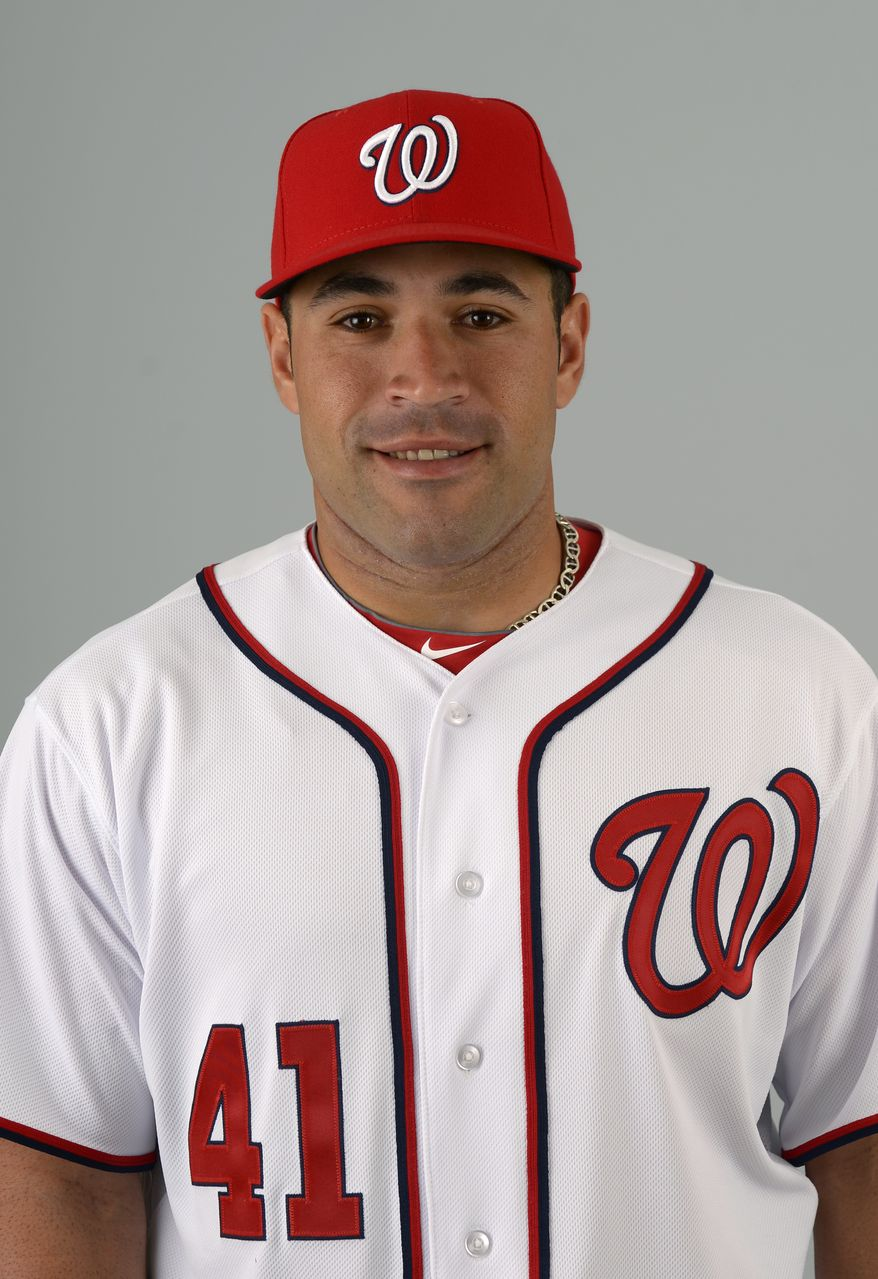 This is a 2013 photo of Sandy Leon of the Washington Nationals baseball team. This image reflects the Nationals active roster as of Feb. 20, 2013 when this image was taken.(AP Photo/Phelan M. Ebenhack)