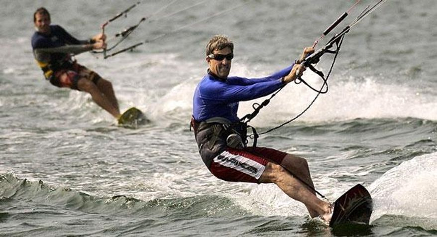 Secretary of State John Kerry shown kite surfing off Nantucket when the former senator was a presidential candidate in 2004. (AP photo)