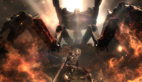 Raiden fights a really big robot in the video game Metal Gear Rising: Revengeance.