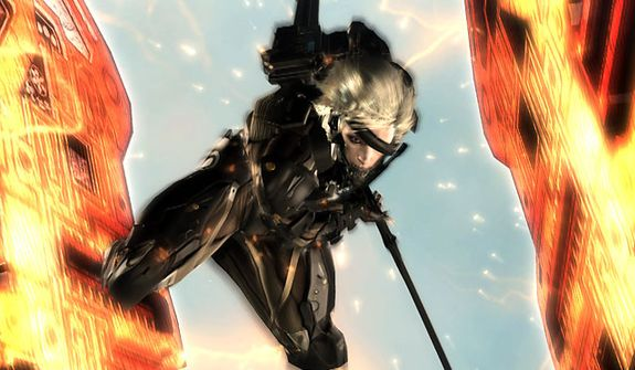 Raiden's sword can split in half nearly any sized robotic enemy in the video game Metal Gear Rising: Revengeance.