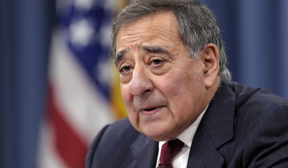 ** FILE ** In this Feb. 13, 2013, file photo, Defense Secretary Leon Panetta speaks during his last news conference as defense secretary at the Pentagon in Washington. (AP Photo/Susan Walsh, File)