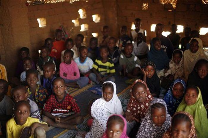 Children attend a class in a madrassa in Gao, northern Mali, February 18.