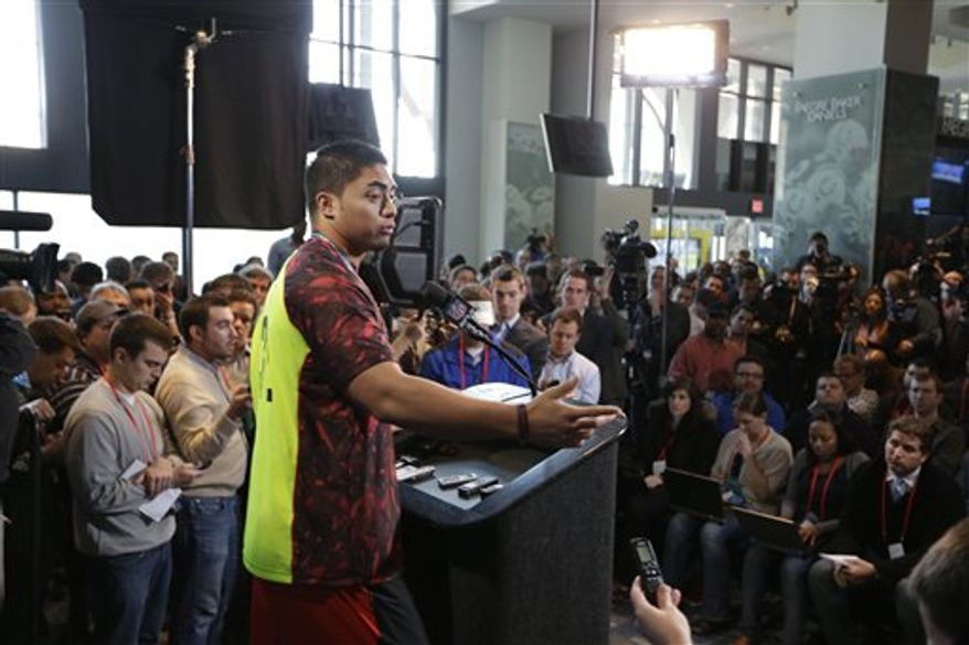 Notre Dame linebacker Manti Te'o addresses reporters at the NFL scouting combine in Indianapolis. Associated Press