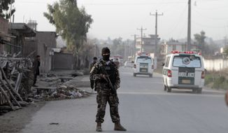 A security official stands guard at the scene of a suicide car bomb attack at the National Directorate of Security in Jalalabad, Afghanistan, on Sunday, Feb. 24, 2013. A series of early morning attacks hit in the country's east on Sunday, with three separate suicide bombings in outlying provinces and a shootout between security forces and a would-be attacker in the capital of Kabul. (AP Photo/Rahmat Gul)