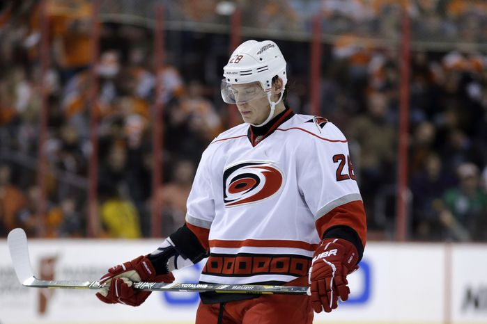 Carolina Hurricanes' Alexander Semin during an NHL hockey game against the Philadelphia Flyers, Saturday, Feb. 9, 2013, in Philadelphia. (AP Photo/Matt Slocum)