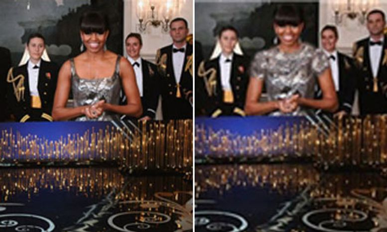 An Iranian news agency touched up a photo of Michelle Obama during her Oscar appearance to conform to the nation's dress restrictions for women. (Daily Guardian)