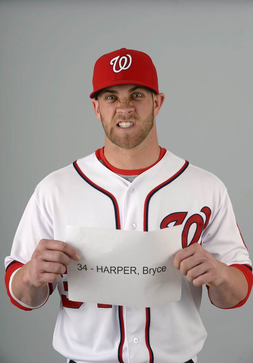 This is a 2013 photo of Bryce Harper of the Washington Nationals baseball team. This image reflects the Nationals active roster as of Feb. 20, 2013 when this image was taken.(AP Photo/Phelan M. Ebenhack)
