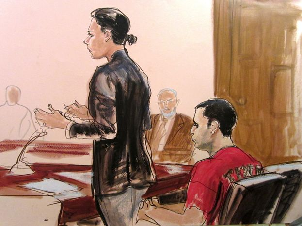** FILE ** Defense lawyer Julie Gatto requests bail for her client, New York City policeman Gilberto Valle (right), in federal Court in New York's Manhattan borough, as depicted in a courtroom sketch from Thursday, Oct. 25, 2012. (AP Photo/Elizabeth Williams, File)