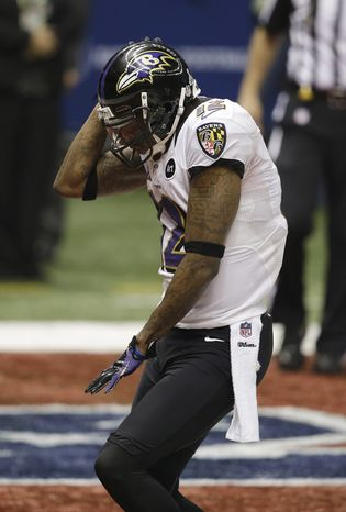 "Baltimore Ravens wide receiver Jacoby Jones (12) dances after scoring a touchdown against the San Francisco 49ers in Super Bowl XLVII in New Orleans on Sunday, Feb. 2, 2013. Mr. Jones is the newest contestant on TV's ""Dancing With the Stars."" (AP Photo/Elaine Thompson)"