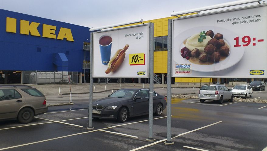 Advertising for meatballs are seen in the parking area of an Ikea store in Malmo, Sweden, on Feb. 25, 2012. The furniture retailer says it has halted all sales of meatballs in Sweden after Czech authorities detected horse meat in frozen meatballs that were labeled as beef and pork. (Associated Press)