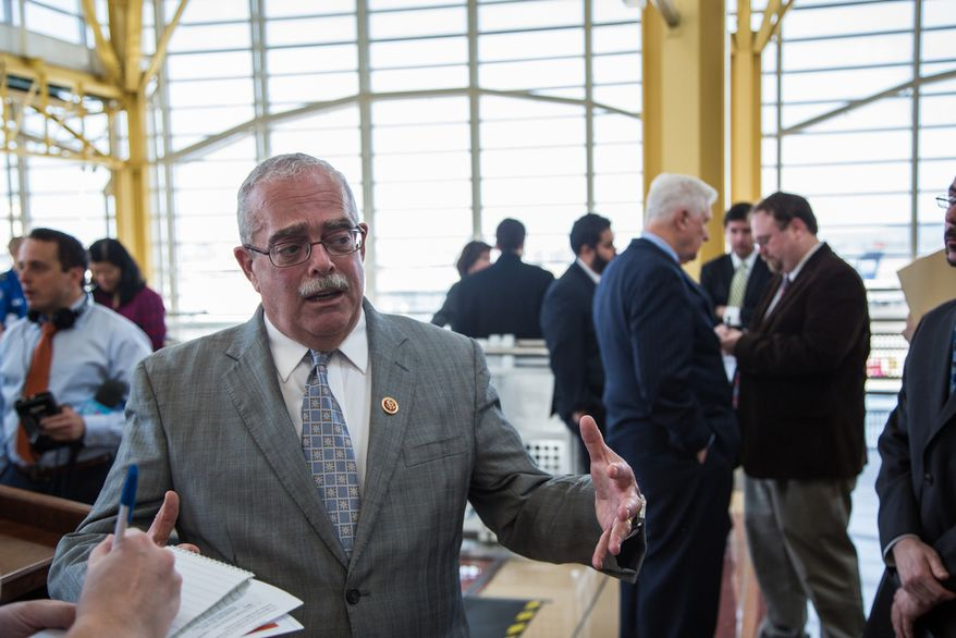 U.S. Rep. Gerry Connolly, Virginia Democrat, addresses members of the press after a briefing concerning sequestration at Reagan National Airport in Washington on Feb. 25, 2013. (Andrew S. Geraci/The Washington Times)