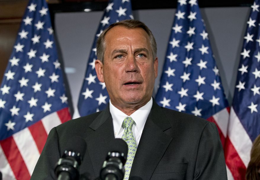 ** FILE ** House Speaker John A. Boehner, Ohio Republican, meets with reporters on Capitol Hill in Washington on Tuesday, Feb. 26, 2013. (AP Photo/J. Scott Applewhite)