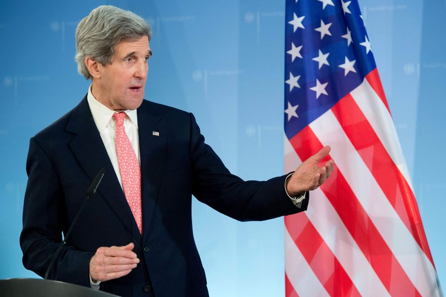 U.S. Secretary of State John Kerry gives a statement after meeting with German Foreign Minister Guido Westerwelle at the Foreign Ministry in Berlin on Feb, 26, 2013. (Associated Press/dpa, Maurizio Gambarini)