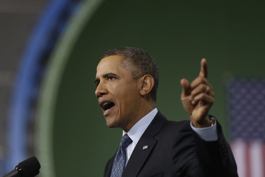 President Obama speaks about automatic defense budget cuts during a visit to Newport News Shipbuilding, a division of Huntington Ingalls Industries, in Newport News, Va., on Feb. 26, 2013. (Associated Press)