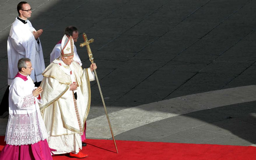 In this undated photo, Pope Benedict XVI is seen wearing his iconic red shoes. (Credit: Associated Press)