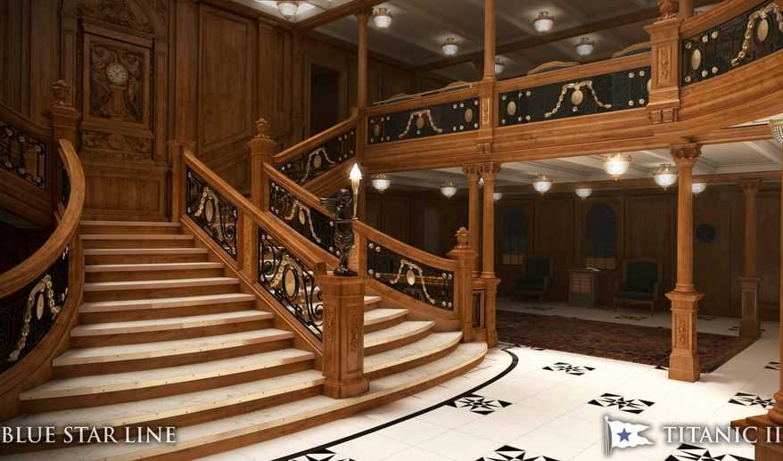 The grand staircase on the original Titanic, prominently featured in the Academy Award-winning movie of the same name, will be replicated on the Titanic II.