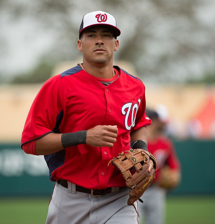 Washington Nationals shortstop Ian Desmond (20) as the Washington Nationals play the Atlanta Braves during spring training at Champion Stadium, Kissimmee, Fla., Tuesday, February 26, 2013. (Andrew Harnik/The Washington Times)