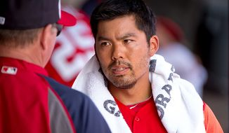 Washington Nationals catcher Kurt Suzuki (24) in the dugout as the Washington Nationals play the Florida Marlins during spring training at Space Coast Stadium, Viera, Fla., Wednesday, February 27, 2013. (Andrew Harnik/The Washington Times)