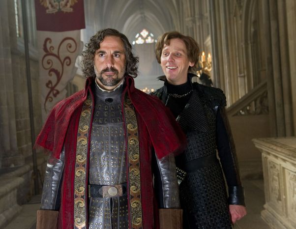 Stanley Tucci (below left), Ewen Bremner and other members of the cast face the giant task of keeping the plot moving in the new Hollywood take on an old fairy tale. (Warner Bros. via Associated Press)
