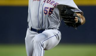 **FILE** New York Mets starting pitcher Chris Young throws a pitch in the first inning of a baseball game against the Atlanta Braves Saturday, Sept. 29, 2012, in Atlanta. (AP Photo/David Goldman)
