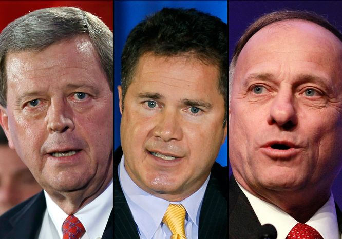 Rep. Tom Latham (left), Iowa Republican, has declined to run for the U.S. Senate seat being vacated by Democratic Sen. Tom Harkin. Reps. Bruce Braley (center), a Democrat, and Steve King, a Republican, have shown interest in the seat. (AP Photo/File)