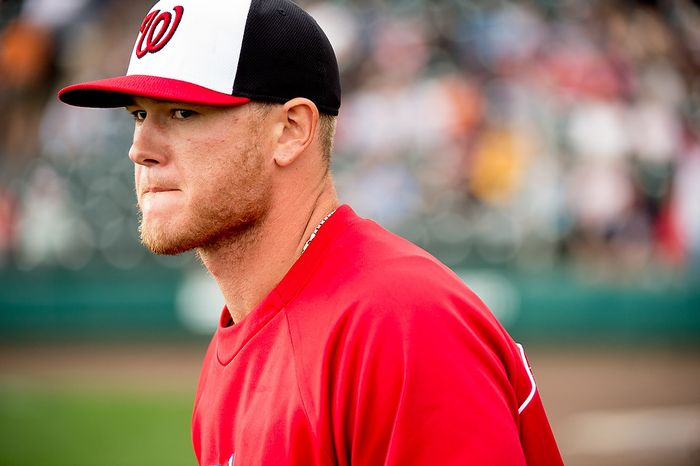 Washington Nationals relief pitcher Ryan Perry (45) as the Washington Nationals play the Atlanta Braves during spring training at Champion Stadium, Kissimmee, Fla., Tuesday, February 26, 2013. (Andrew Harnik/The Washington Times)