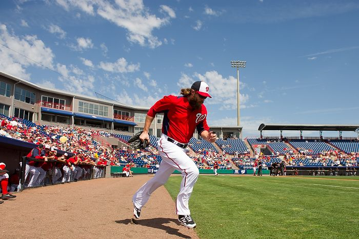 Washington Nationals right fielder Jayson Werth (28) takes the field as the Washington Nationals play the Florida Marlins during spring training at Space Coast Stadium, Viera, Fla., Wednesday, February 27, 2013. (Andrew Harnik/The Washington Times)