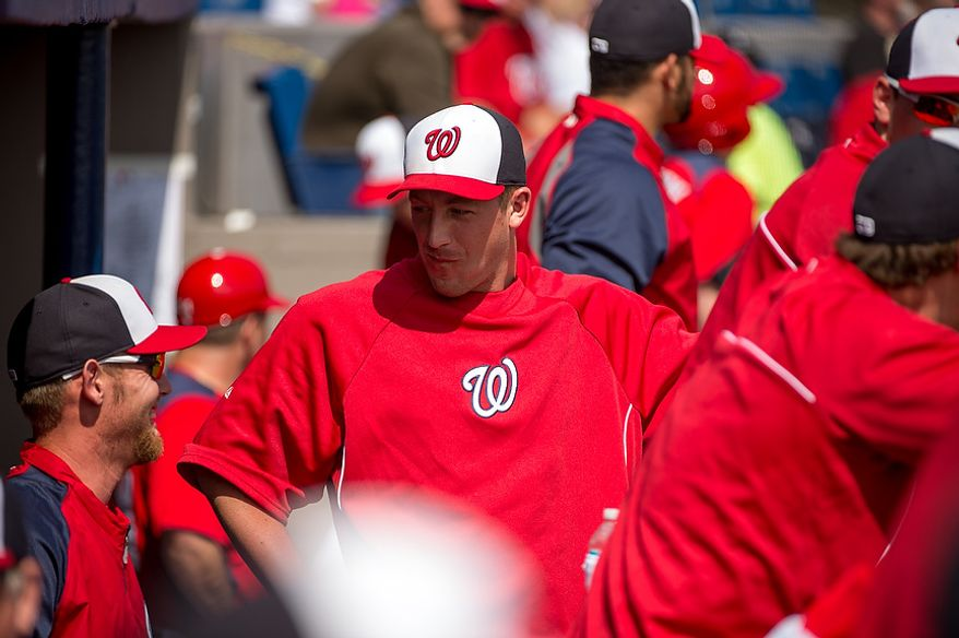 Washington Nationals starting pitcher Jordan Zimmermann (27) stands in the dugout as the Washington Nationals play the Florida Marlins during spring training at Space Coast Stadium, Viera, Fla., Wednesday, February 27, 2013. (Andrew Harnik/The Washington Times)