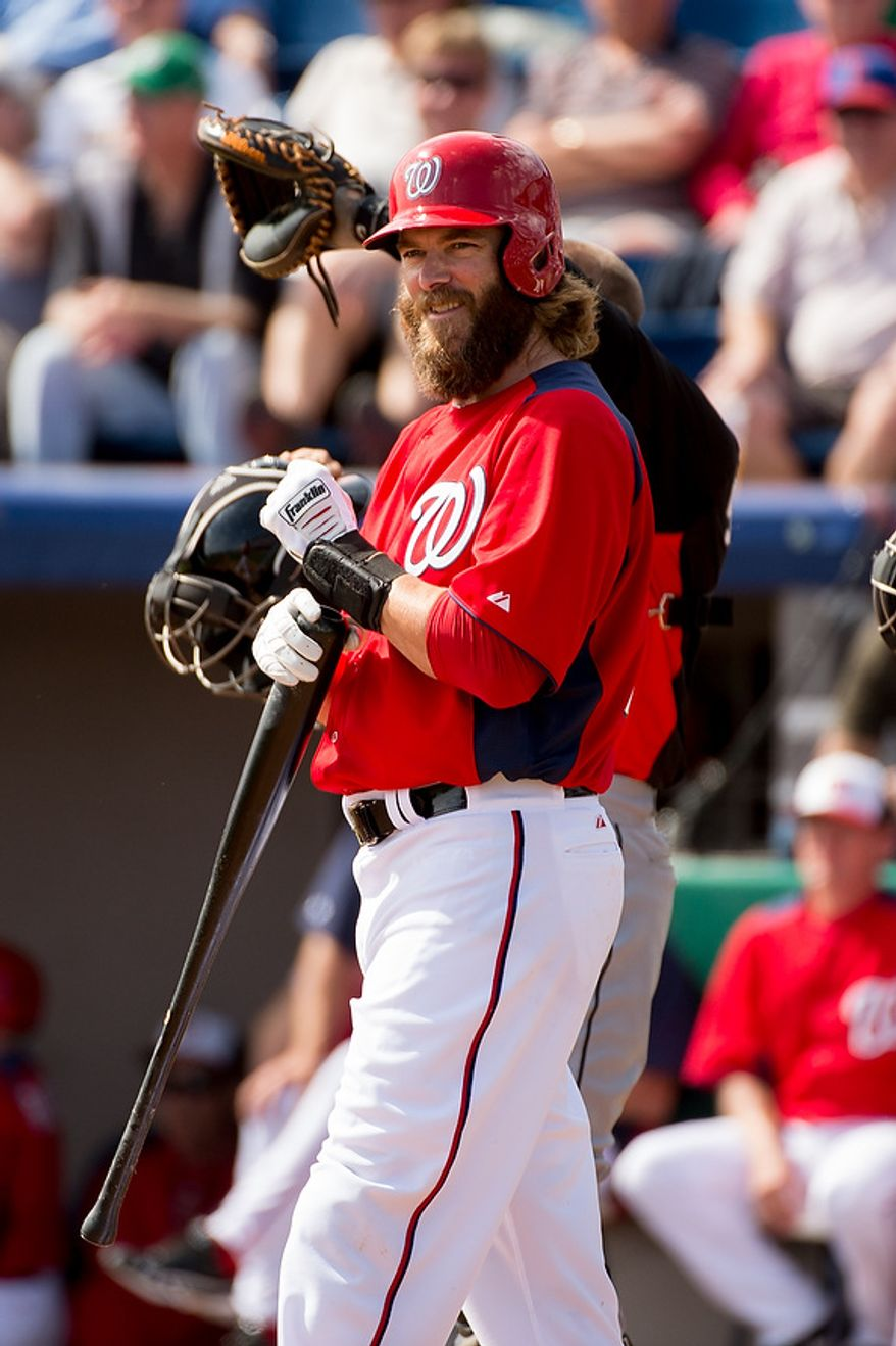 Washington Nationals right fielder Jayson Werth (28) comes up to bat as the Washington Nationals play the Florida Marlins during spring training at Space Coast Stadium, Viera, Fla., Wednesday, February 27, 2013. (Andrew Harnik/The Washington Times)