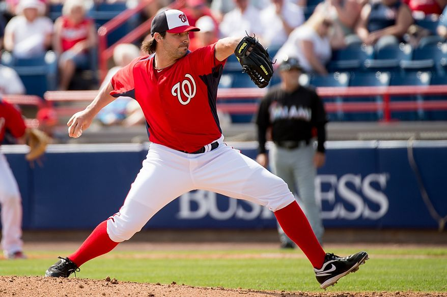 Washington Nationals relief pitcher Tanner Roark (59) pitches as the Washington Nationals play the Florida Marlins during spring training at Space Coast Stadium, Viera, Fla., Wednesday, February 27, 2013. (Andrew Harnik/The Washington Times)