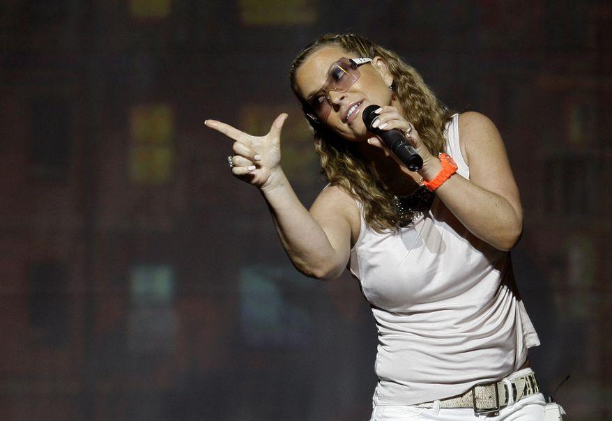 Pop singer Anastacia performs in concert in Lisbon in 2009. (AP Photo/Armando Franca)