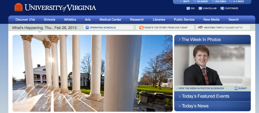 (Screenshot of the University of Virginia website)