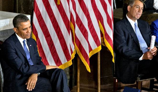 President Obama and House Speaker John A. Boehner of Ohio attended the ceremony to dedicate a statue of civil rights icon Rosa Parks in the Capitol's Statuary Hall on Wednesday before a brief meeting about budget cuts. (Associated Press)